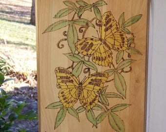 Swallowtail Butterflies Woodburning Pyrography