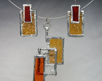 Eye Catching Stained Glass Necklace and Earring Set