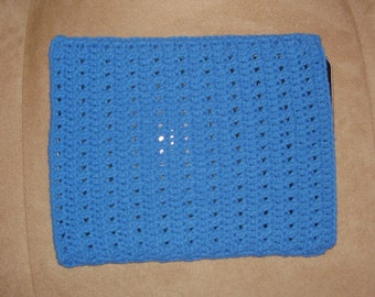 Crochet iPad / tablet case/sleeve - blue