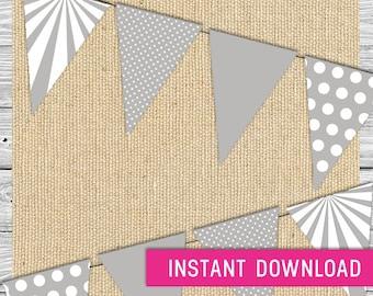 Printable Banner - Gray (printable banner, birthday banner, baby shower, pennant banner, pendant banner, triangle banner)