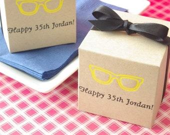 Kraft Favor Box - Square Box - Personalized - baby shower, birthday favors, custom printed favors
