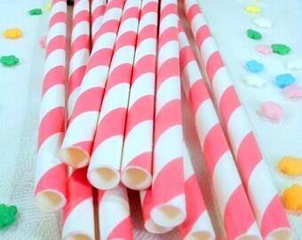 25 Hot Pink Striped Paper Straws