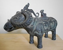 SALE 30% OFF - Shang Dynasty Bronze Buffalo-shaped Zun Wine Vessel Ancient Chinese Unearthed Museum Quality Rare Asian Antique Wine Vessel