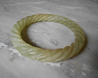 SALE 20% OFF - Eastern Zhou Dynasty Light Green Twisted Rope Jade Bangle Bracelet - Rare Asian Antique Jewelry Jade Collectibles
