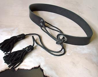 Womens leather belt, Black leather tassel belt. ALL SIZES