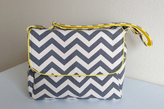 Large Messenger Diaper Bag with Divider- Gray Chevron and Bright Yellow
