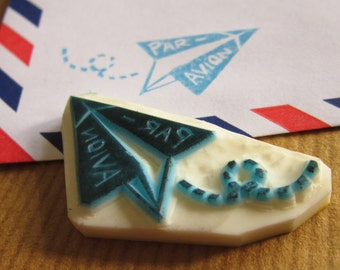 Par-avion Airmail Wording Paper Plane rubber stamp