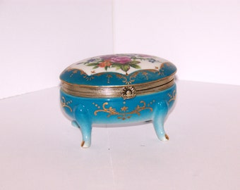 Vibrant porcelain blue Noreleans egg shaped jewelry/trinket box