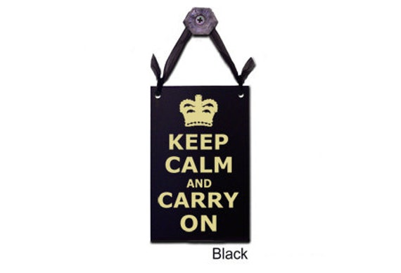 Keep Calm And Carry On Quote Door Knob Hanger/ Sign By