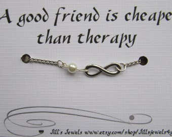 Best Friend Bracelet - Friendship Bracelet - Infinity Charm Bracelet with Pearl and Funny Friendship Quote Card - Charm Bracelet - BFF