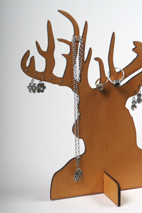 Items Similar To Laser Cut Ply Wood Stag Jewellery Stands