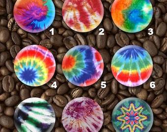 15 Tie Dye Metal Plastic Flatback or Pinback Button Set