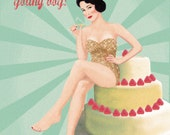 Birthday's card for man retro style, Pin-up collection