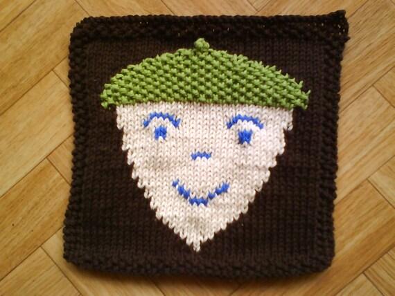 Knitted Baby Blanket Dishcloth Pattern : Baby washcloth knitting pattern Acorn decor by CuteCreationsByLea