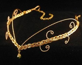 Medieval Renaissance circlet gold crystal Arwen elven headpiece