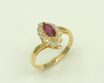 Gold 18k Ring with Ruby and Brilliants