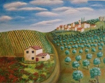 "Tuscany Landscape, Large 22 x 28"" Fine Art Reproduction Museum-Quality Print (Giclee) of Original Painting"