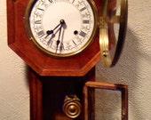 Vintage School House Regulator Key Wind Clock
