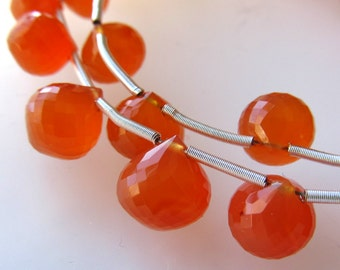Nectarine Orange Carnelian Faceted Micro Faceted Onion Briolette Beads 10 X 9mm - 8 inch Strand