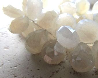 Ivory White Pearl Chalcedony Faceted Heart Briolettes 15 X 12mm - 4 inch Strand