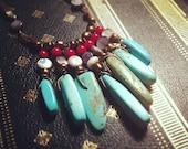 The Quetzal - turquoise stone fringe necklace