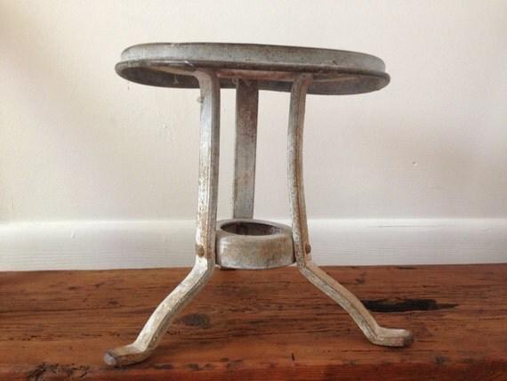 Vintage Metal Milking Stool Three Legs 1920 S