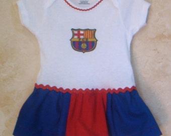 Barcelona Soccer Onesies, Appliqued Onesies, Sports Onesies, Onesies with skirt.