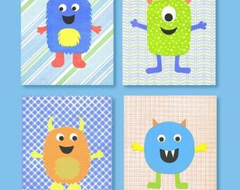 Monster Nursery Decor, Blue,Green, Orange, Yellow Nursery, Monster prints, Boy Nursery, Boys Room Art, Nursery Print, cute nursery decor