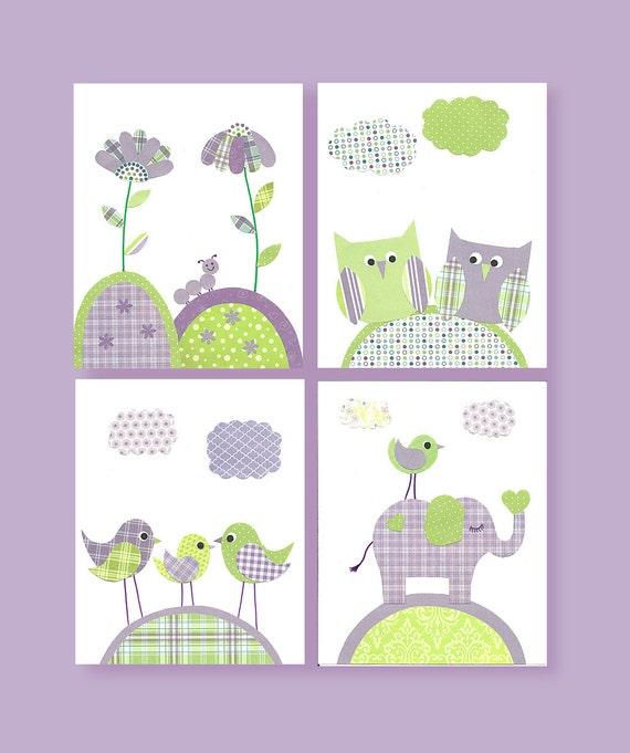 Green And Purple Nursery Quad Set Owl By SweetPeaNurseryArt