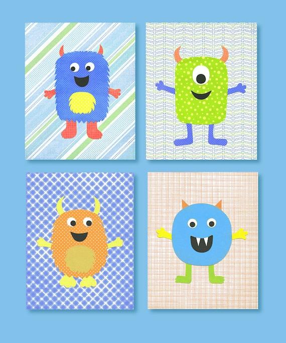 monster kinderzimmer dekor blau grün orange gelb - Kinderzimmer Orange Blau