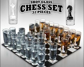 Chess Shot Glass Set- 32 Piece