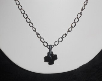 Black Swarovski Crystal Cross Necklace