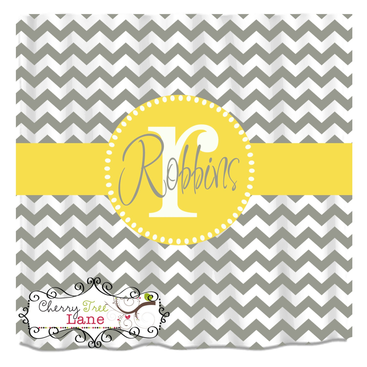 Grey Chevron Shower Curtain Personalized By Cherrytreelanedesign