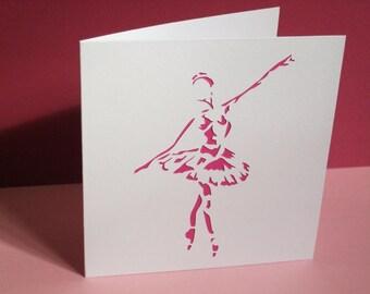 Handmade Ballet Card - Ballerina Card - Paper Cut - Handmade Greeting Card - Personalised Card - Etsy UK