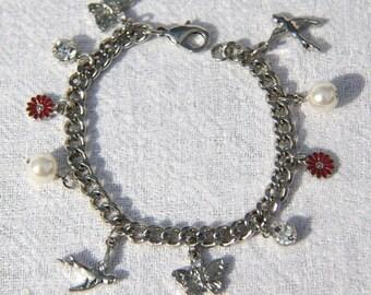 Vtg 90s Summer Themed Charm Bracelet