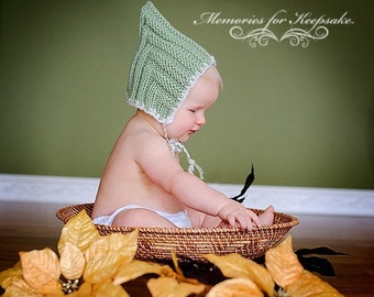 Sage Green White Flower Munchkin Pixie Elf Fairy Hobbit Knit Baby Hat Cap Any Color Size New Baby Gift or Photo Prop