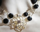 Silver Flower Pendant with Chain of Onyx Stone & Silver Beads Necklace - Double Strand