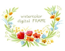 Digital Clipart, Watercolor Flowers, Floral Frame, Watercolor Frame