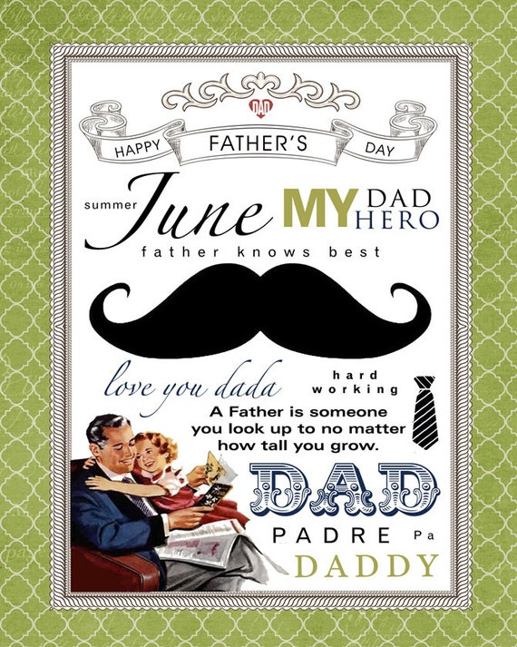 June Subway Art. Father's Day Printable.
