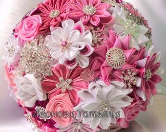 "Wedding Bouquet, brooch bouquet ""Celestine"", Pink, White and Crimson"