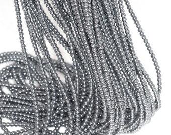 2mm Noir Black Hematite Gemstone Round 2mm Loose Beads 16 inch Full Strand (90113610-107 - 2mm C)