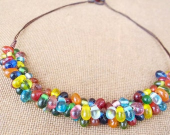 Multi Colour Glass Bead Knot Necklace
