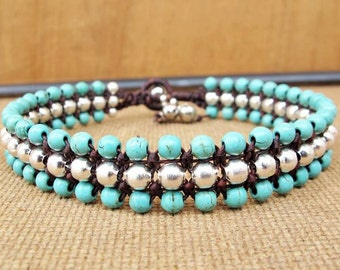 Turquoise Beaded Woven Ankle Bracelet with Silver Color Bead