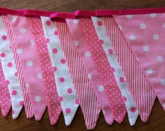 Fabric bunting, Hot Pink and White Bunting Pink and White Pennant Banner, Spots and Stripes, Nursery Banner, 12 Double Sided Flags