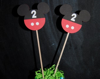 Mickey Mouse Centerpieces Toppers  With Childs Age