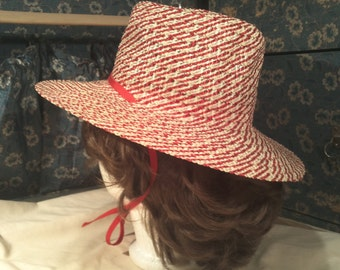 Sears Millnery Cream and Red summer straw hat