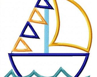 Sailboat Machine Embroidery Design