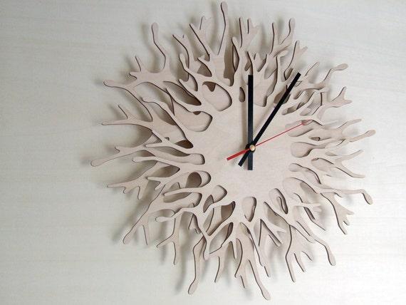 Large Wall Clock Coral Branch Clock