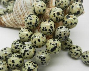 16 IN  Dalmatian   jasper  spotted   gemstones   black   spots  10MM  8MM
