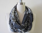 Wide Unisex Python Snakeskin Print Gray Black White Cotton Poly Tissue Thin Jersey Knit Handmade Infinity Scarf- Loop- Scarf- Circle- Scarf